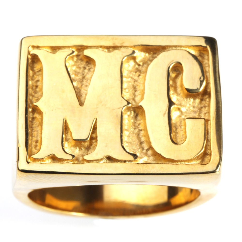 Punk Golden Tone Carved Letter MC Signet Rock N Roll Mens Boys 316L Stainless Steel Ring