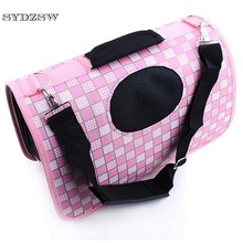 SYDZSW Newly Pet Bag Carrier for Dogs Cats Lovely Pink Plaid Chihuahua Dog Bag Oxford Fabric Folding Puppy Carrier Breathable