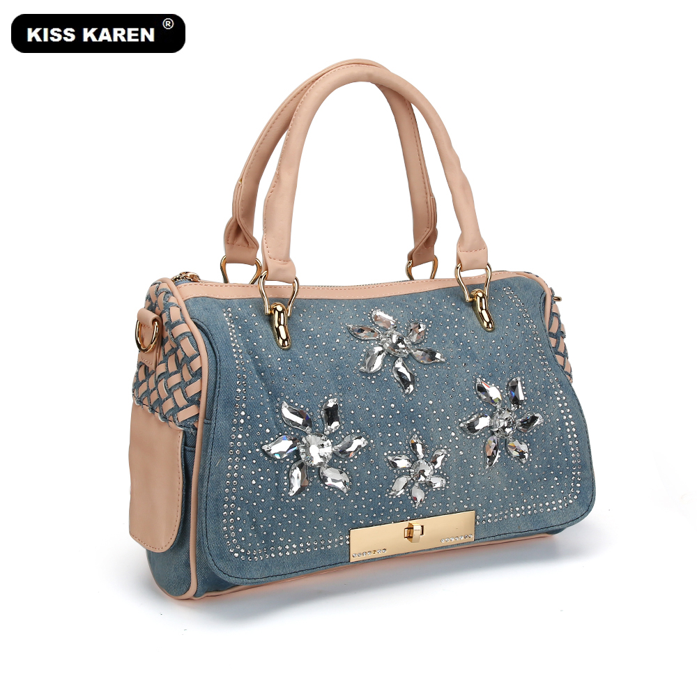 цена KISS KAREN Crystal Diamonds Women Handbags Ladies Casual Tote Fashion Women's Shoulder Bags Designer Tote Bags Women Bag