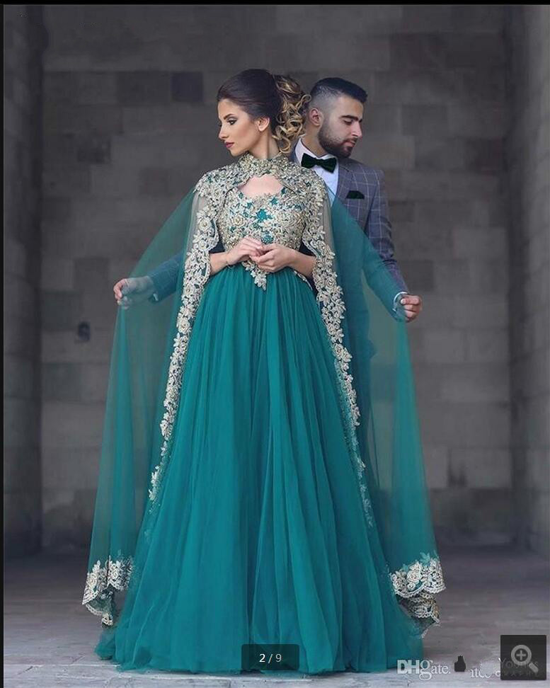 Abayas Kaftan Turquoise Muslim Long Prom Gowns 2019 A Line Gold Lace Appliques Tulle evening Prom Dresses With Removable Cape