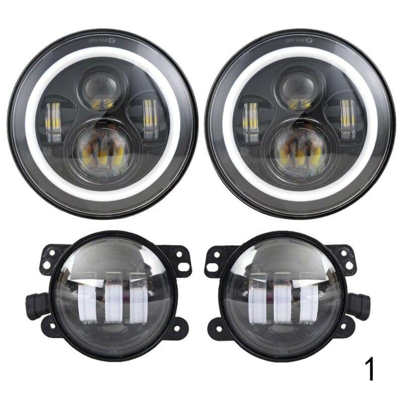 2 шт 7 дюймов Круглая светодиодная фара в сборе + 2 шт х 30 Вт 4 дюйма светодиодный фонарь для Jeep Wrangler Hummer H1 H2