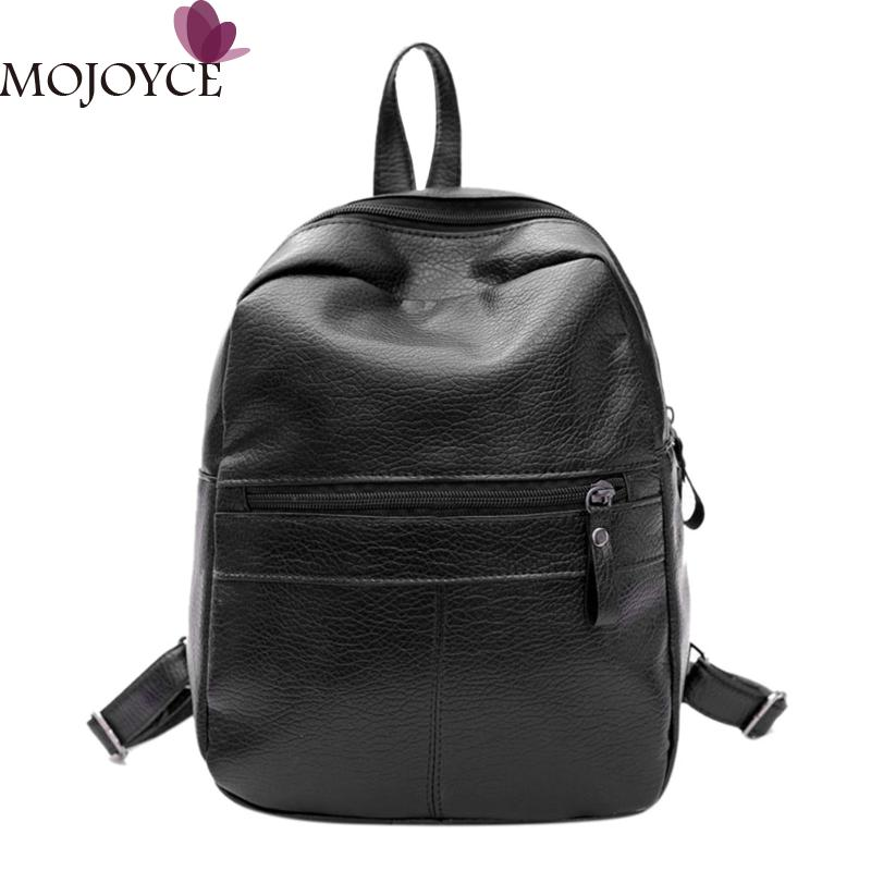 Fashion Women PU Leather Backpack Casual Soft Shoulder Bag Backpack for Teenagers Girls Black Travel Satchel Rucksack Women Bags