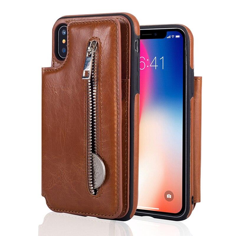 Cover Per iPhone 7 7 Plus Capa 6 6 S Più la Cassa Mini Borsa Cassa del raccoglitore Borse Stand Slot Per Schede Uomo Cover per iPhone X 8 Plus casi