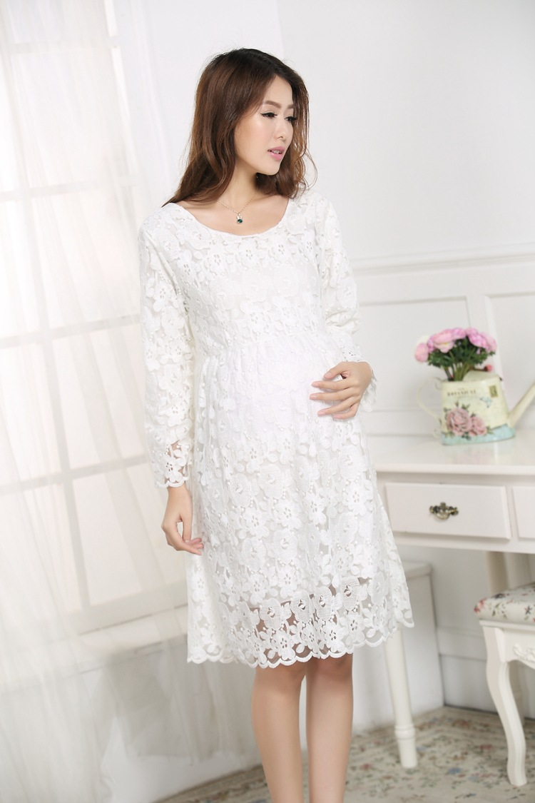 Maternity clothes fashion summer new arrival hollow elegant lace maternity clothes fashion summer new arrival hollow elegant lace white dresses for pregnant woman loose temperament party dress in dresses from mother ombrellifo Images