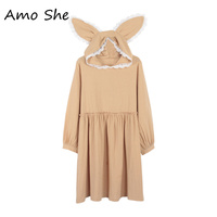 Amo She Rabbit Ears Hooded Dress Cute Lolita Girls Ruffles Lace Knee Length Dress Women Sweet