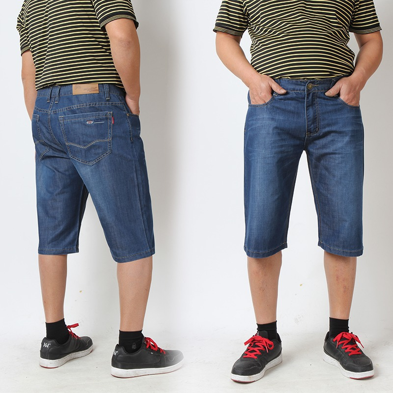 Men's Baggy Plus Size 30W 46W Knee length Business Type Blue Denim ...
