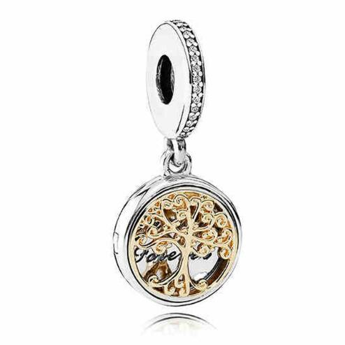 Original 925 Sterling Silver Charm Gold Family Roots two-tone locket Pendant Bead Fit Pandora Bracelet & Necklace Diy JewelryOriginal 925 Sterling Silver Charm Gold Family Roots two-tone locket Pendant Bead Fit Pandora Bracelet & Necklace Diy Jewelry