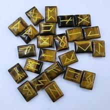2019 Hot 25Pcs Natuurlijke Tiger Eye Stone Viking Runen Amulet Set Reiki Healing Crystal Waarzeggerij Getrommeld Natuursteen Kraal