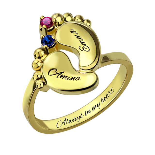 AILIN Baby feet Ring Gold Color Mother Ring with Birthstone Engraved Name Ring for New Mom