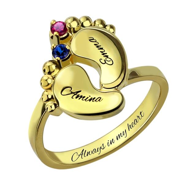 AILIN детские ноги кольцо золото Цвет материнское кольцо с Камень  выгравированы имя для новой мамы 4171e4c953b
