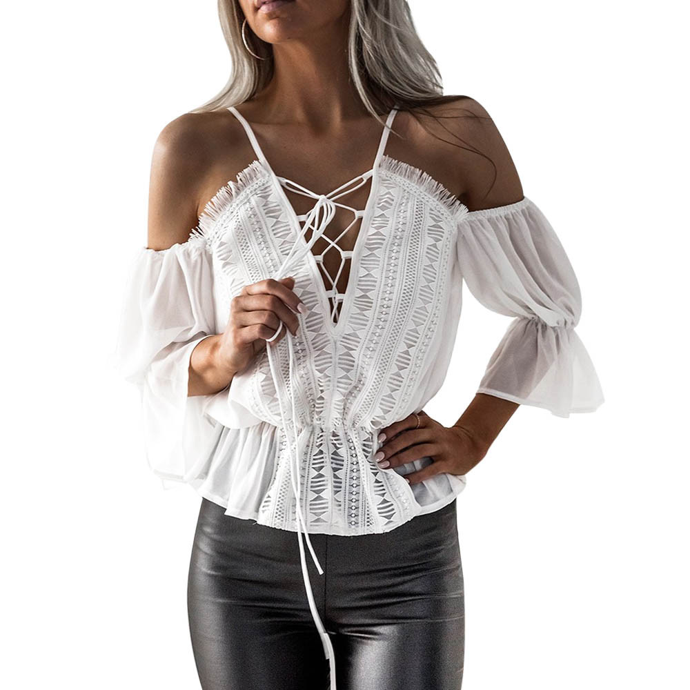 Women Short Sleeve Off Shoulder Lace Chiffon Blouse Bandage V Neck Casual Tops Shirt Blusas Y Camisas Mujer Blusas Feminina