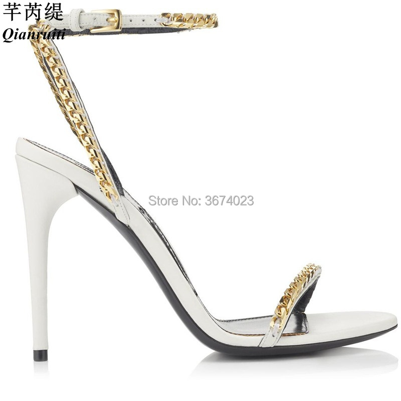 Aliexpress.com   Buy Qianruiti 2018 Shoes Women Gold Chain Sandals Ankle  Strap High Heels Black White Open Toe Stiletto Heels Summer Women s Sandals  from ... 8b8be200ae29