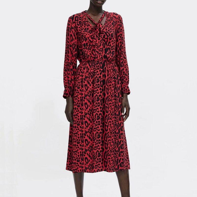 Femmes printemps noeud papillon imprimé léopard robe plissée motif Animal rouge taille élastique manches longues Chic Midi dames robes Vestidos