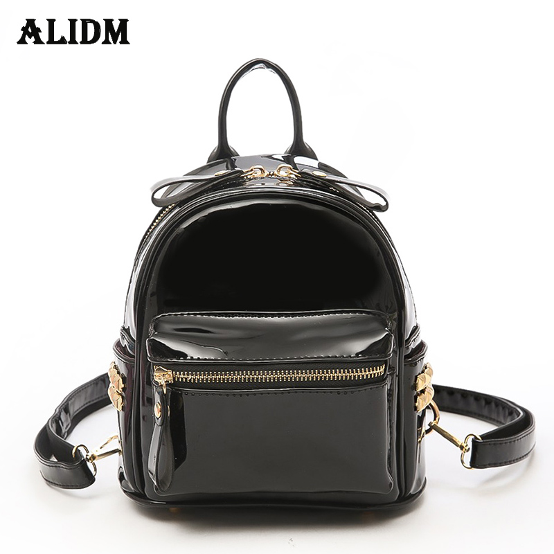 High Quality Patent Leather Backpack Women Solid Casual Daypacks Female Backpacks For Teenage Girls Shoulder Bags Sac a dos 2018 fashion solid women backpack high quality leather backpack female daily backpack for teenage girls schoolbag leisure daypack sac