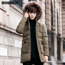 Woodvoice Brand Clothing Winter Men's Hooded Long Section Coat Thick Parka Hooded Outwear Windproof Jacket Big Size 4XL WLG5679