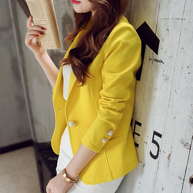 HanOrange Summer Autumn Single Button Long sleeve 2018 Fashion Thin Women Small Suit Blazer Jacket Green/Yellow/Black