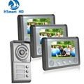 7inch Video Intercom Apartment HD 3 Monitor 1 Doorbell Camera 3 Buttons Door Phone System One to Three video doorphone