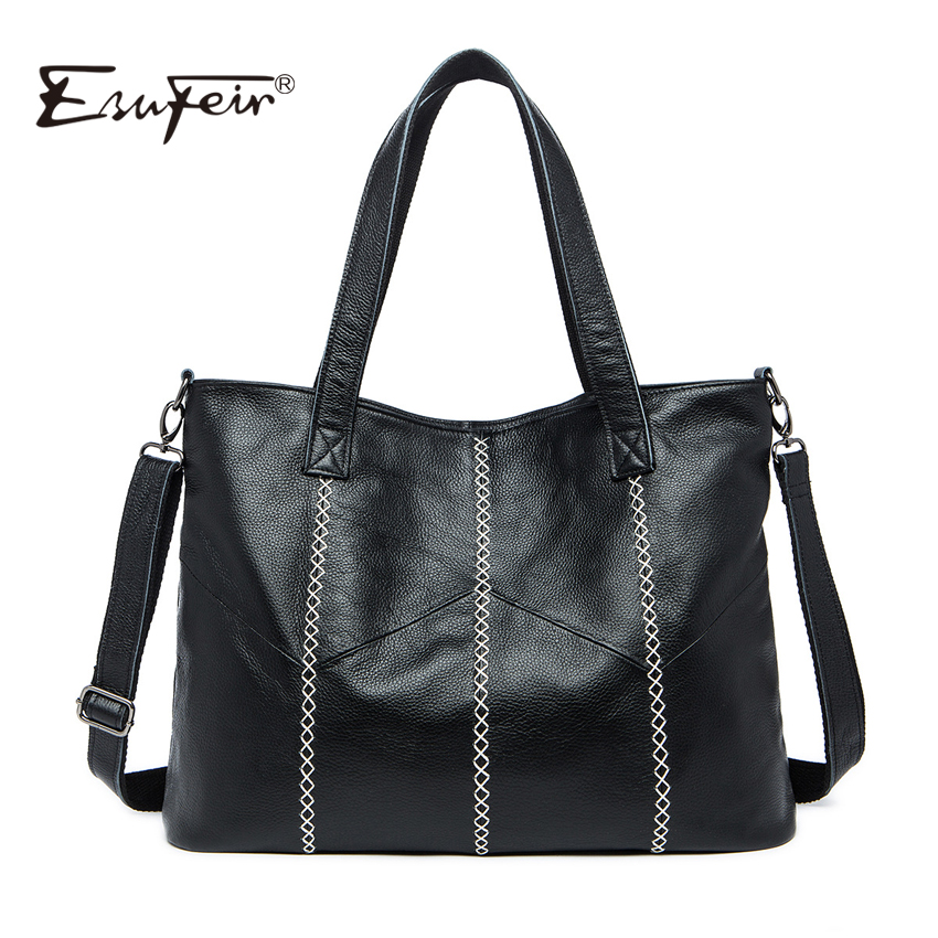 ESUFEIR Brand Genuine Leather Women Handbag Patchwork Real Cow Leather Shoulder Bag Thread Women Bag Fashion Design Casual Tote esufeir brand genuine leather women handbag cross pattern cow leather shoulder bag fashion design top handle trapeze women bag