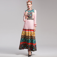 High Quality 2017 Designer Fashion Runway Maxi Dress Women S Flare Sleeve Beading Floral Printed Vintage