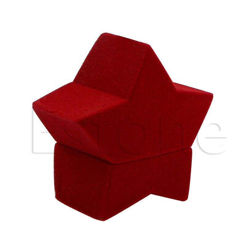 Red Star Shape Velvet Ring Box Earring Ear Stud Jewelry Case Container