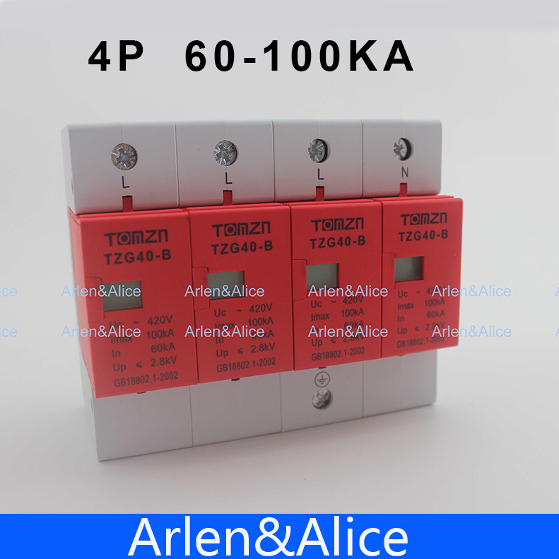 цена на SPD 3P+N 60KA~100KA B ~420VAC House Surge Protector Protective Low-voltage Arrester Device