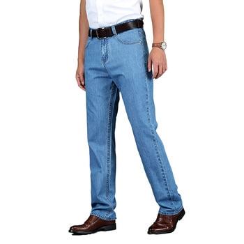 TIGER CASTLE 100% Cotton Summer Men Classic Blue Jeans Straight Long Denim Pants Middle-aged Male Quality Lightweight Jeans 1