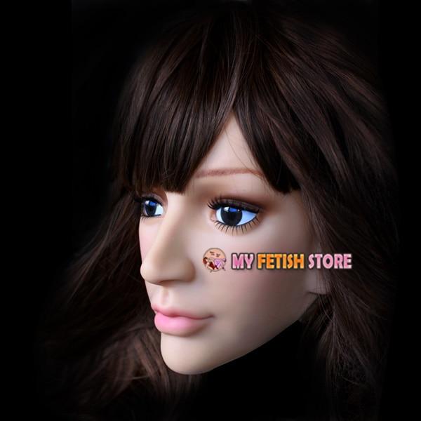 (SH 15) Crossdress mâle silicone réaliste visage humain demi tête masque crossdresser poupée masque - 5