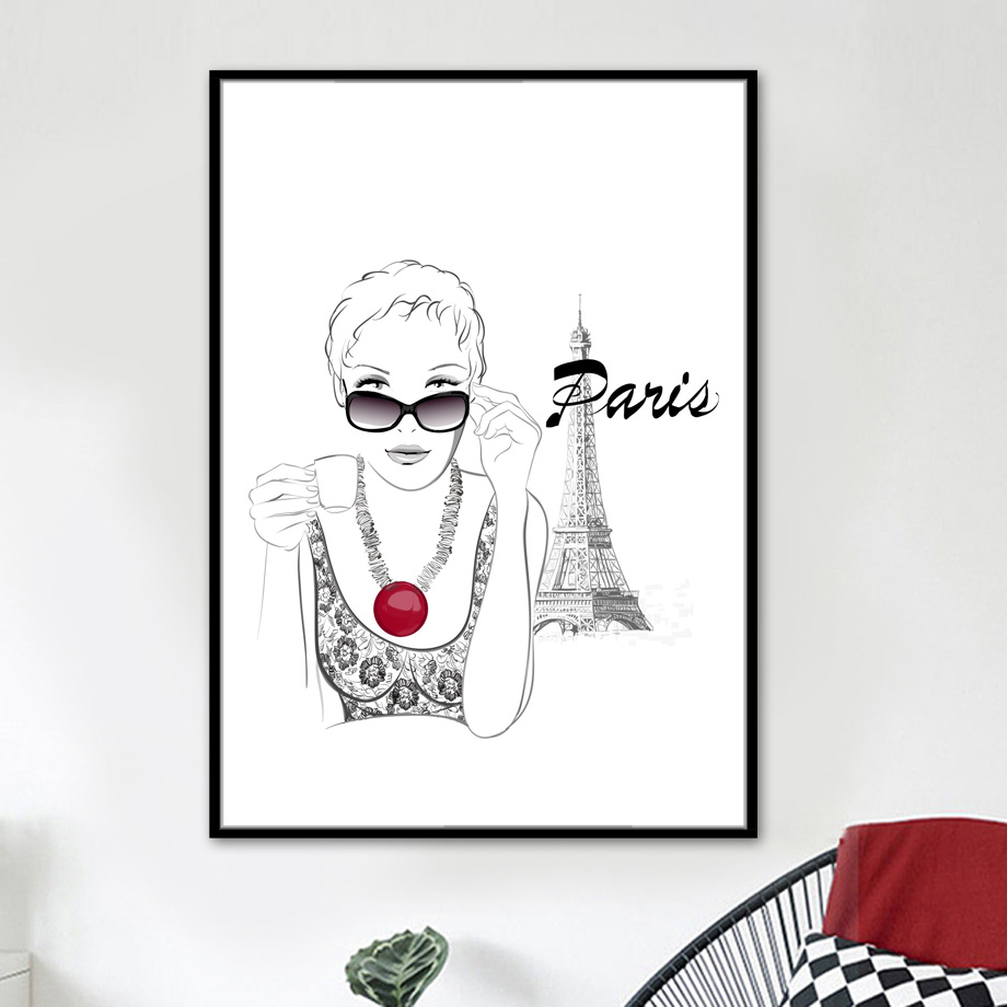 Paris Tower Fashion Lady Wall Art Canvas Painting Nordic Poster And Prints Wall Pictures For Living Room Girl Bedroom Home Decor in Painting Calligraphy from Home Garden