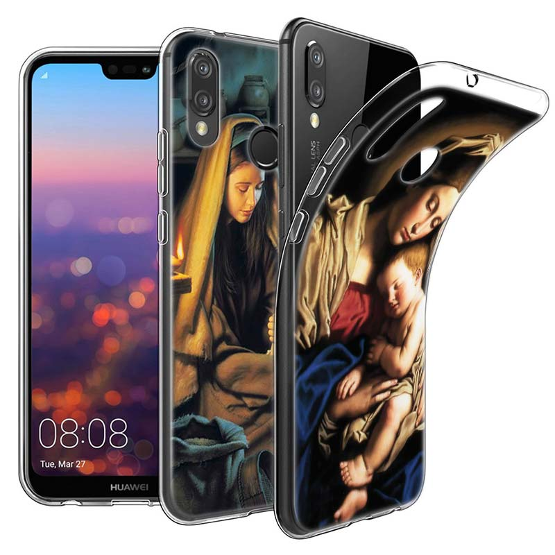 Virgin Mary Christian Christmas Silicone Case Cover For Huawei P Smart P8 P9 Lite P10 P20 Lite Pro P9 Lite Mini Sof