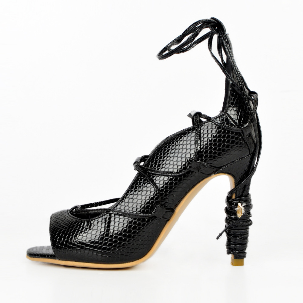 ФОТО Large Size Shoes Women zapatos  Snakeskin  Woman  Dress Shoes Stiletto Heel lace-up Pumps Sandals Size US 15 EU 45