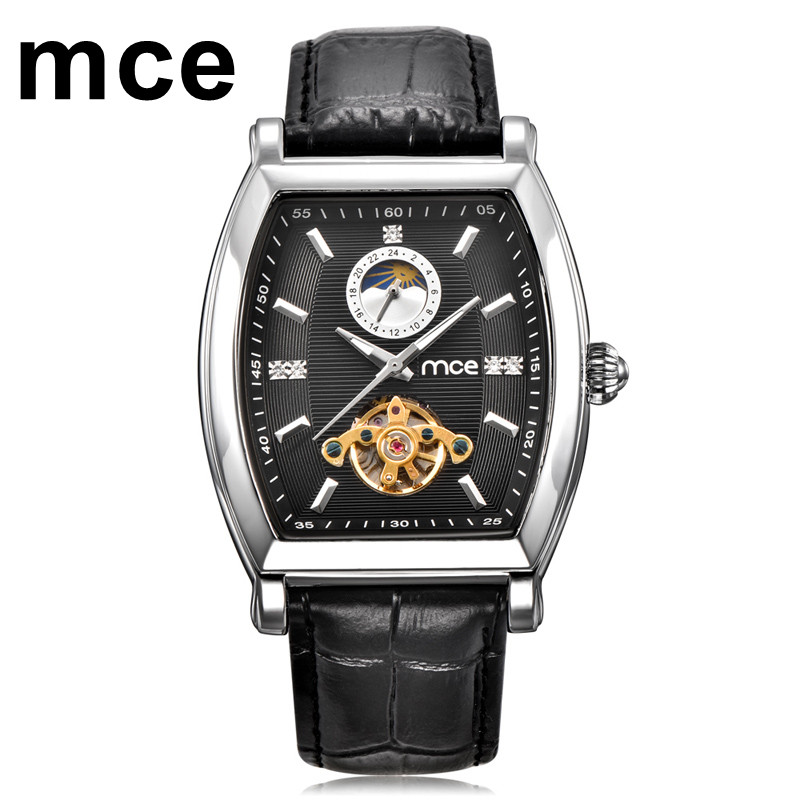 Business Moon Tourbillon Mechanical Watch Men MCE Luxury Brand Gold Leather Automatic Watches Waterproof Orologio Uomo With Box patek philippe sky moon tourbillon в самаре