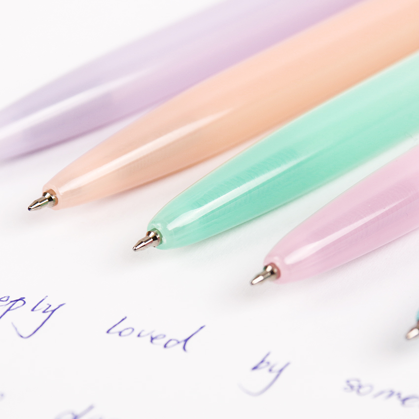 5PCS/lot Jelly Color Kawaii Ballpoint Pen Plastic Press the Ballpoint Pen School Supplies Stationery Papelaria B-573F