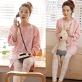 Lovely Pink design Summer style bowknot round neck big size Cotton maternity clothes Pajama Set for pregnant maternity sleepwear