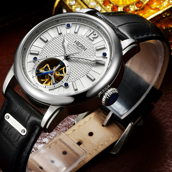 NESUN Men Simple Fashion Tourbillon Hollow Automatic Mechanical Wristwatches Waterproof Leather Watches Male Relogio Masculino