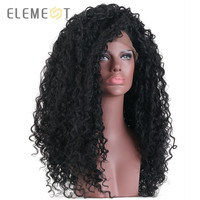Element Swiss Synthetic Lace Front Wig 16*4 Black 24 Inch Afro Kinky Long Curly Hair Black Full Wigs For African American Women