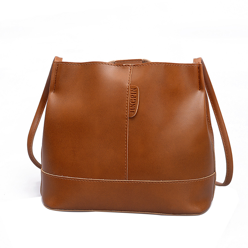 Women Large-Capacity Trend Bucket Bag Casual Solid Hasp Women Hand Shoulder Bag Leather Ladies Small Flap Ja24