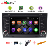 LJHANG 2 DIN 7 inch Android 7.1 Car DVD Player For Audi A4 S4 2003 2008 Touch screen Audio Bluetooth In Dash Car Stereo GPS Navi