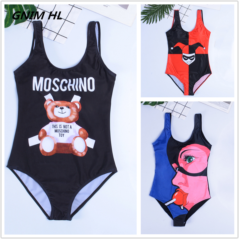 GNIM HL One Piece Bikini Swimwear Women New 2019 Cartoon Print Sexy Bikini Swimsuit Beachwear Bathing Suit Biquini Top Quality