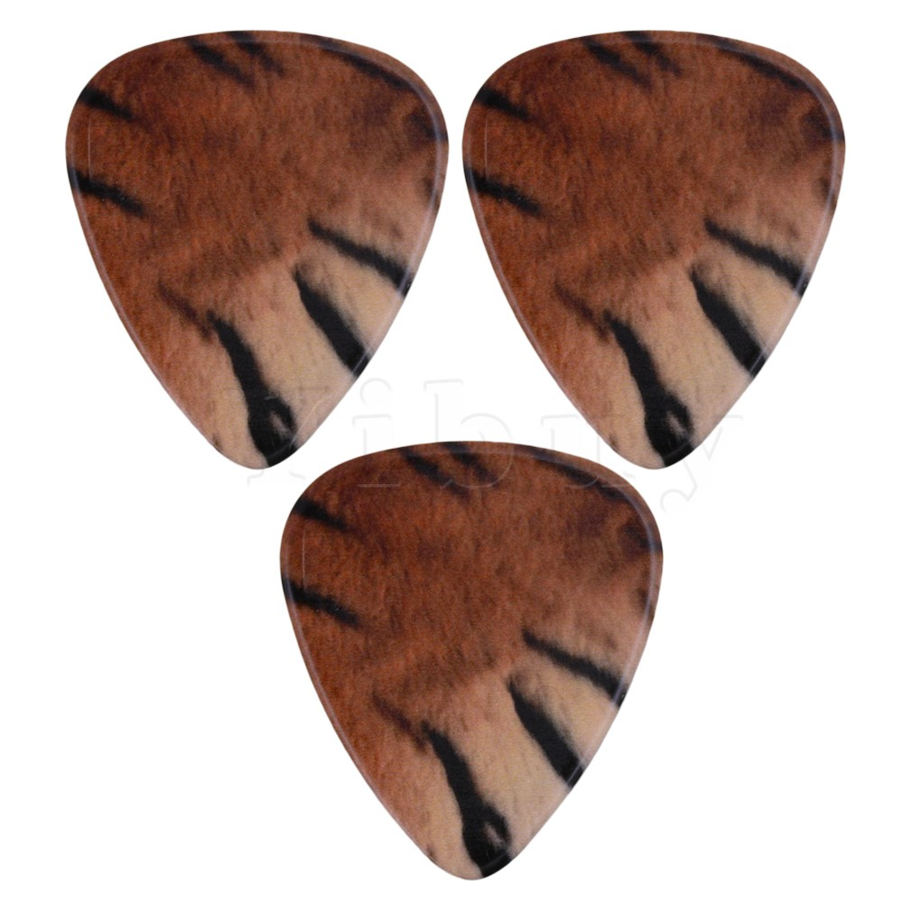 Yibuy 0.96mm Standard Guitar Practice Picks Plectrums Yellow Tiger Skin Pattern Musical Accessories Printed Both Side Pack of 10