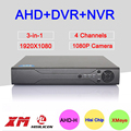 Hisilion Sensor Metal Case Three in One DVR 4 Channel 1080P 2MP Coaxial Hybrid AHD-H DVR With IR Remote Control Free Shipping