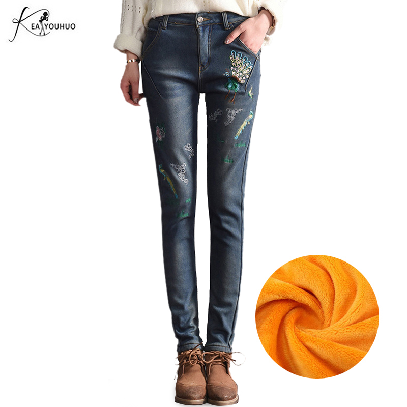 2017 Winter Warm Jeans for Women Jeans High Waist Bird Floral 3D Embroidery High Waist Ladies Straight Denim Pants Jeans Bottoms american apparel bf women jeans high waist floral 3d embroidery high waist ladies straight denim pants jeans bottoms plus size