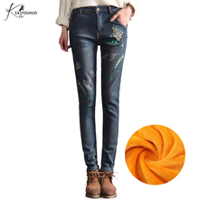 Купить с кэшбэком 2017 Winter Warm Jeans for Women Jeans High Waist Bird Floral 3D Embroidery High Waist Ladies Straight Denim Pants Jeans Bottoms