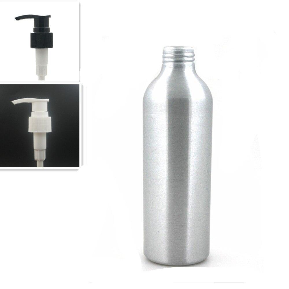 250ml Round Empty Aluminum Bottles, Sliver Metal Bottle With Black/white Twist Lotion Pump