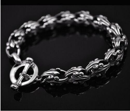 Bijoux en argent noir en gros 925 bijoux en argent sterling de mode personnalité croisé fleur bracelet pour hommes xh053011