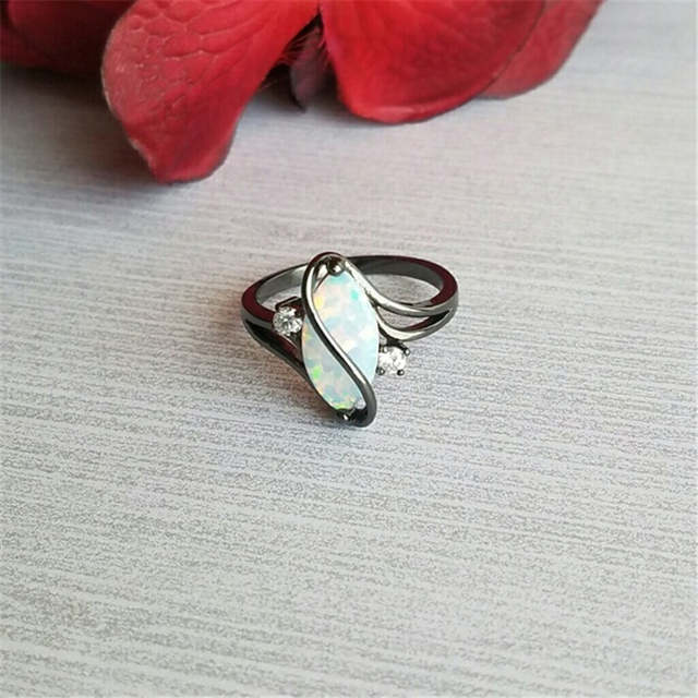 40c122d39bb93 US $1.04 25% OFF|Oval Opal Stone Ring Black Gold Color Rings Fashion  Jewelry For Women and Man Party Gift Wholesale Anillos Mujer-in Wedding  Bands ...