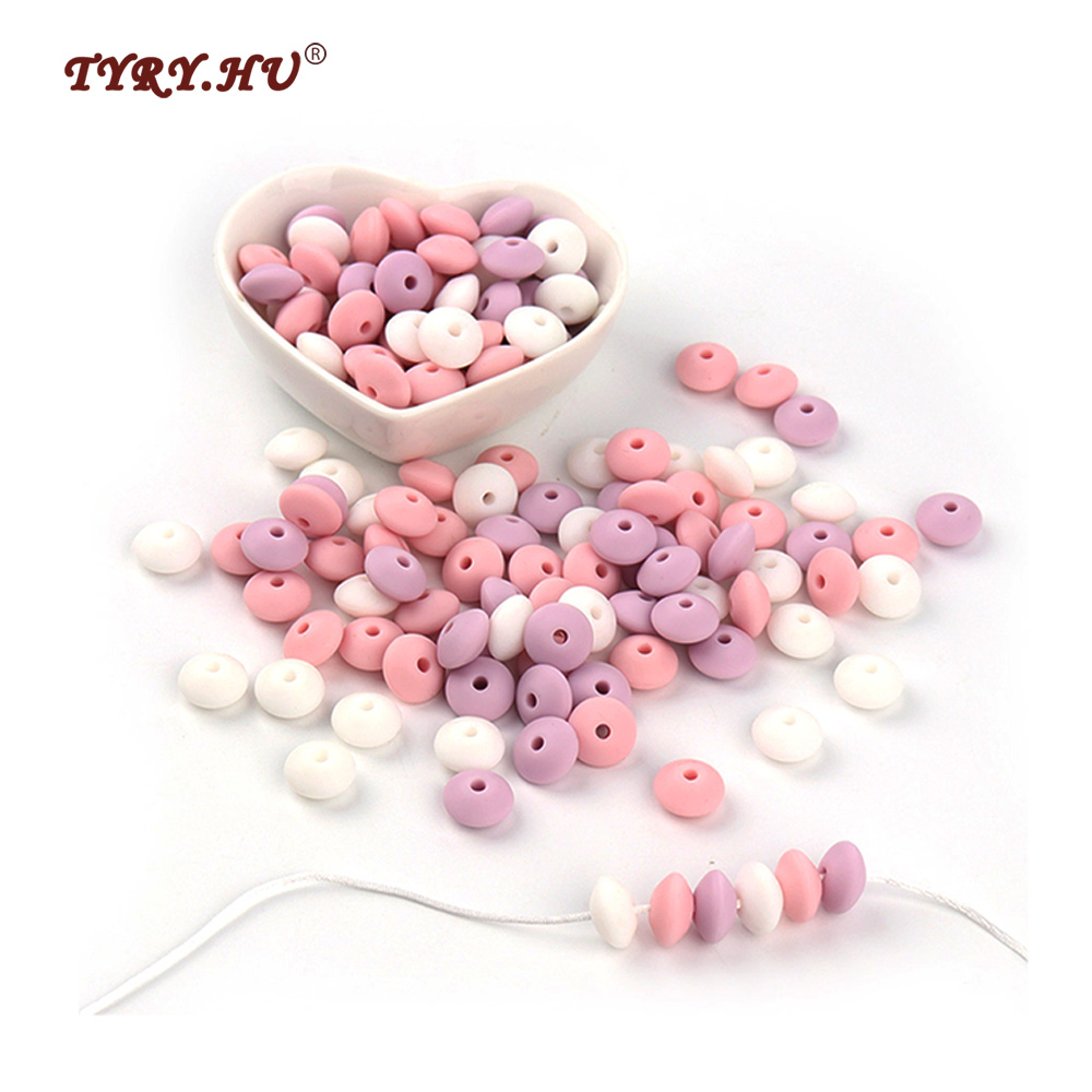 Multicolor 12mm 50pc Lentil Silicone Beads Abacus small Soft Colors Pearls Loose For Teething Necklace Bead Jewelry BPA FREE