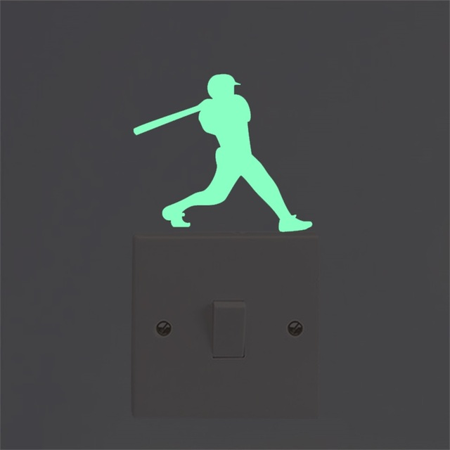102702ed US $0.33 40% OFF|Baseball Glow In The Dark Switch Sticker Luminous  Fluorescent Wall Stickers for Kids Room Home Decor Green/Blue Sticker  Sport-in Wall ...