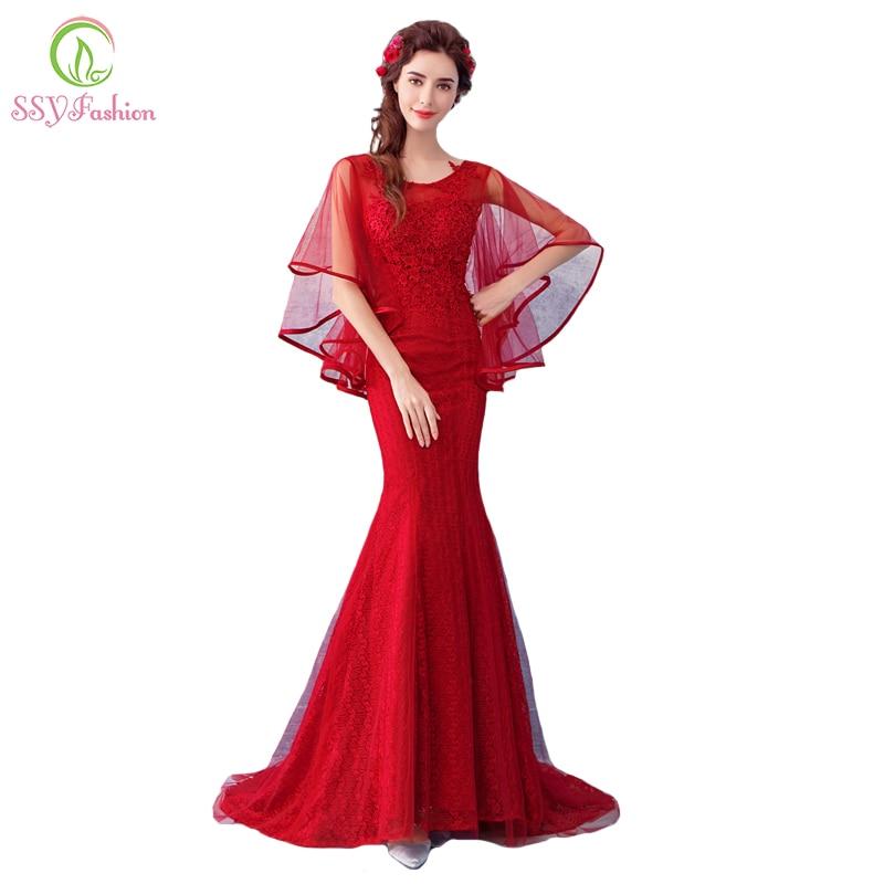 Ssyfashion New Red Mermaid Evening Dress The Bride Banquet Sexy