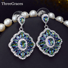 ThreeGraces Gorgeous Cubic Zircon Crystal Inlay Sparkling Mystic Rainbow Light Blue Ladies Fashion Earrings Jewelry ER273