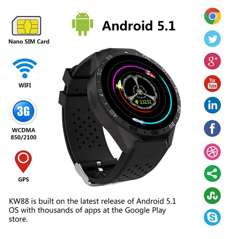 KW88 Smart Watch Men Smart Wearable Devices Heart Rate Tracker Bluetooth Smartwatch With WIFI GPS Pedometer for Android IOS